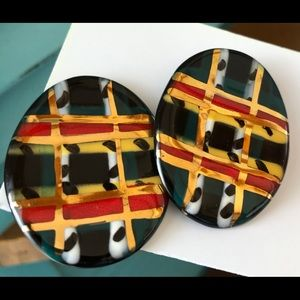 Vintage Large Ceramic Post Earrings Tartan Plaid